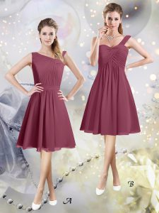 Charming Burgundy A-line Ruching Damas Dress Zipper Chiffon Sleeveless Knee Length