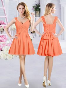 Affordable Straps Sleeveless Zipper Quinceanera Dama Dress Orange Chiffon