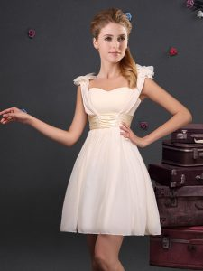 Straps Sleeveless Zipper Court Dresses for Sweet 16 Champagne Chiffon