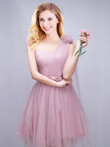 Simple One Shoulder Sleeveless Damas Dress Mini Length Ruching and Bowknot and Hand Made Flower Pink Tulle