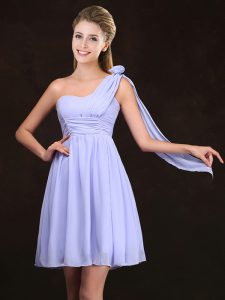 Lavender Empire Chiffon One Shoulder Sleeveless Ruching and Hand Made Flower Mini Length Zipper Dama Dress for Quinceanera