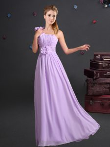 Gorgeous One Shoulder Floor Length Lavender Quinceanera Court of Honor Dress Chiffon Sleeveless Ruching and Hand Made Flower