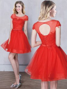 Scoop Red A-line Appliques and Belt Quinceanera Dama Dress Lace Up Tulle Short Sleeves Mini Length