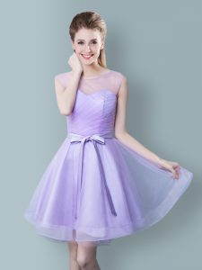 Dramatic Scoop Lavender Sleeveless Tulle Zipper Quinceanera Court of Honor Dress for Prom and Party and Wedding Party