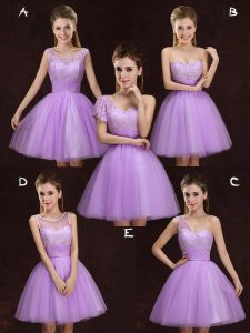 Delicate Scoop Tulle Sleeveless Mini Length Quinceanera Court of Honor Dress and Lace and Ruching