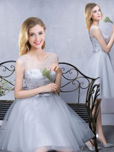 Grey A-line Scoop Sleeveless Tulle Knee Length Lace Up Lace and Appliques and Belt Quinceanera Court of Honor Dress