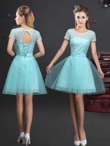 Exceptional Scoop Aqua Blue Tulle Lace Up Court Dresses for Sweet 16 Short Sleeves Mini Length Lace and Appliques and Belt