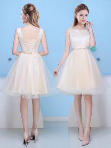 Tulle Scoop Sleeveless Lace Up Bowknot Quinceanera Court of Honor Dress in Champagne