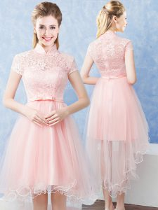 Baby Pink High-neck Zipper Lace and Belt Court Dresses for Sweet 16 Short Sleeves
