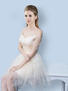 Sumptuous Champagne Lace Up Off The Shoulder Sequins and Bowknot Quinceanera Dama Dress Tulle Short Sleeves