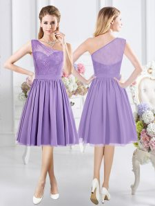 Pretty One Shoulder Sleeveless Side Zipper Quinceanera Court Dresses Lavender Chiffon