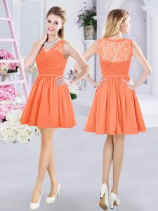 Lovely Orange V-neck Neckline Lace and Ruching Quinceanera Dama Dress Sleeveless Side Zipper