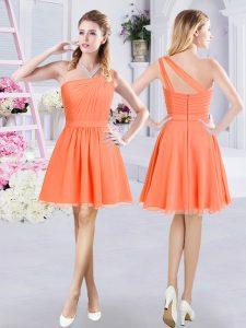 Noble One Shoulder Sleeveless Zipper Mini Length Ruching Court Dresses for Sweet 16