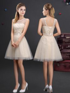 Hot Selling Scoop Sleeveless Beading and Lace and Appliques and Belt Lace Up Vestidos de Damas