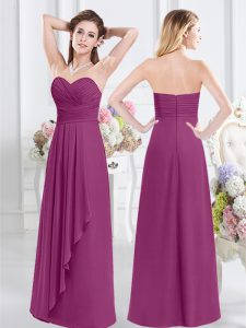 Fancy Fuchsia Empire Ruching Quinceanera Dama Dress Zipper Chiffon Sleeveless Floor Length