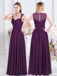 Purple Straps Zipper Ruching Dama Dress for Quinceanera Sleeveless