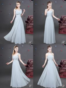 Dazzling Grey Zipper Court Dresses for Sweet 16 Ruching Sleeveless Floor Length
