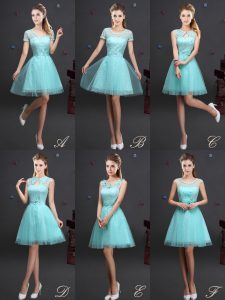 Aqua Blue Dama Dress Prom and Party and Wedding Party with Beading and Lace and Appliques and Belt High-neck Sleeveless Lace Up