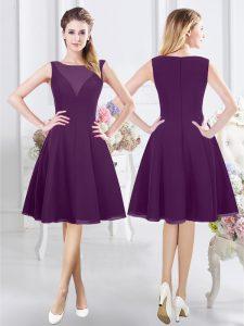 Knee Length Empire Sleeveless Purple Quinceanera Court Dresses Zipper