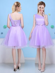 Suitable Lavender Lace Up One Shoulder Bowknot Damas Dress Tulle Sleeveless