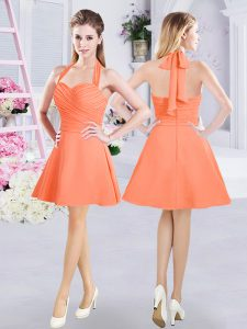 Ideal Halter Top Mini Length Zipper Quinceanera Court Dresses Orange for Prom and Party and Wedding Party with Ruching