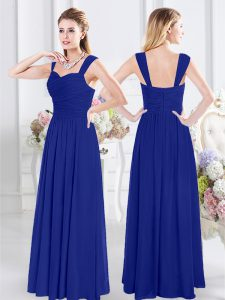 Exceptional Straps Chiffon Sleeveless Floor Length Damas Dress and Ruching
