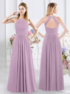 Glittering Lavender Zipper Halter Top Ruching Court Dresses for Sweet 16 Chiffon Sleeveless