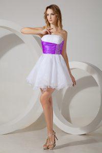 Great White And Purple Zipper Dama Dress Beading Sleeveless Mini Length