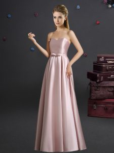 Modest Pink Elastic Woven Satin Zipper Court Dresses for Sweet 16 Sleeveless Floor Length Bowknot