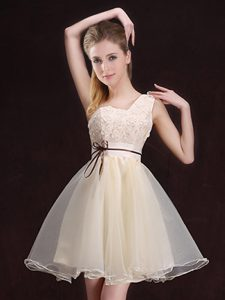 One Shoulder Appliques and Belt Court Dresses for Sweet 16 Champagne Lace Up Sleeveless Mini Length