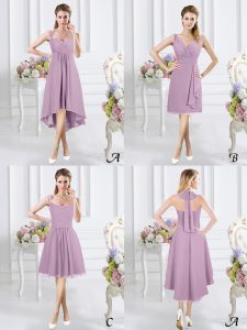 Wonderful Halter Top Sleeveless High Low Ruching Zipper Quinceanera Court Dresses with Lavender