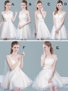 Straps Cap Sleeves Tulle Knee Length Zipper Dama Dress for Quinceanera in Champagne with Ruching and Bowknot
