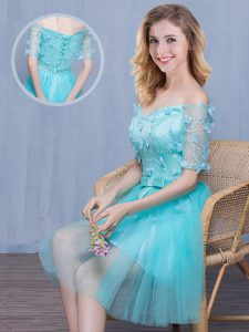 Glorious Off the Shoulder Knee Length Aqua Blue Quinceanera Dama Dress Tulle Short Sleeves Lace and Appliques and Bowknot