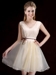 Lace and Appliques and Belt Quinceanera Court of Honor Dress Champagne Lace Up Sleeveless Mini Length