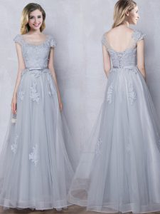 Grey Quinceanera Dama Dress Prom and Party and Wedding Party with Lace and Appliques and Belt Scoop Cap Sleeves Lace Up