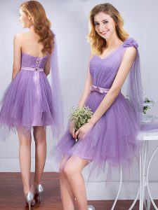 One Shoulder Ruffles and Ruching and Belt and Hand Made Flower Quinceanera Dama Dress Lavender Lace Up Sleeveless Mini Length