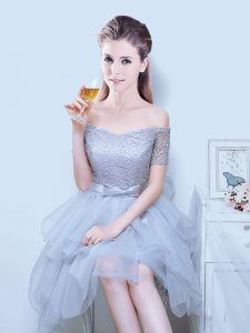 Off the Shoulder Grey Lace Up Dama Dress for Quinceanera Lace and Ruffles and Bowknot Short Sleeves Asymmetrical