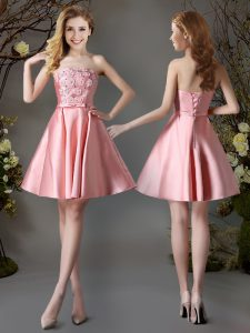 Pink A-line Satin Strapless Sleeveless Appliques and Bowknot Mini Length Lace Up Dama Dress for Quinceanera