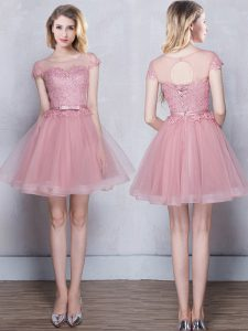 Scoop Short Sleeves Mini Length Lace and Appliques and Belt Lace Up Quinceanera Court of Honor Dress with Pink