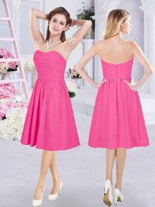 Suitable Hot Pink Sleeveless Chiffon Zipper Damas Dress for Prom and Party and Wedding Party