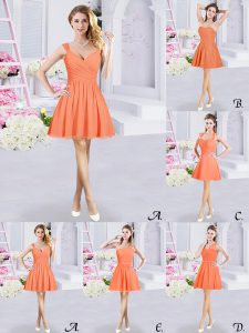 Dazzling Sleeveless Chiffon Mini Length Zipper Quinceanera Court of Honor Dress in Orange with Lace and Ruching and Belt