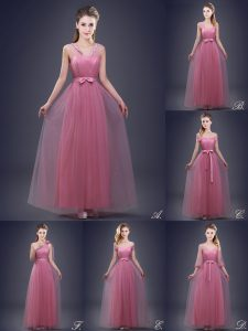 Wonderful Floor Length Lace Up Dama Dress for Quinceanera Pink for Prom and Party and Wedding Party with Beading and Appliques and Ruching and Bowknot and Hand Made Flower