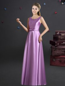 Lilac Dama Dress for Quinceanera Prom and Party and Wedding Party with Bowknot Straps Sleeveless Zipper