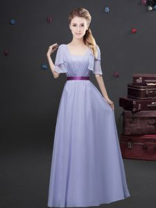 Attractive Square Short Sleeves Vestidos de Damas Floor Length Ruching and Belt Lavender Chiffon