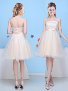 Glorious Champagne Sleeveless Knee Length Bowknot Lace Up Dama Dress