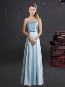 Light Blue Sleeveless Bowknot Floor Length Quinceanera Court Dresses