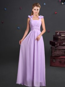 Straps Chiffon Sleeveless Floor Length Dama Dress and Ruching and Hand Made Flower