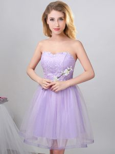 Lavender A-line Sweetheart Sleeveless Tulle Knee Length Lace Up Beading Damas Dress
