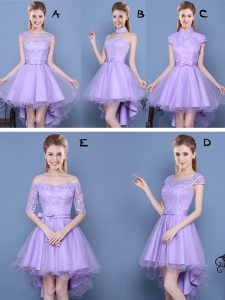 Unique Lavender Sleeveless Taffeta and Tulle Lace Up Quinceanera Court of Honor Dress for Prom and Party and Wedding Party