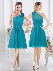Flare Teal Vestidos de Damas Prom and Party and Wedding Party with Ruffles and Ruching One Shoulder Sleeveless Side Zipper